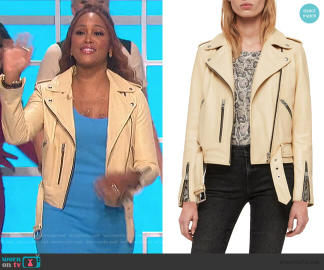 Balfern Leather Biker Jacket by All Saints worn by Eve  on The Talk