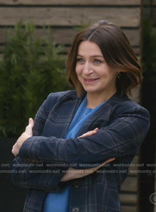 Amelia's blue plaid blazer on Greys Anatomy