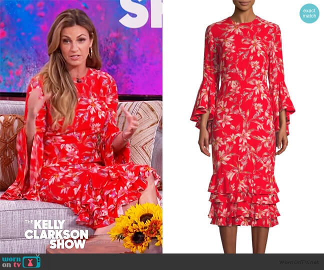 Alexia Floral Midi Dress by Amur worn by Erin Andrews on The Kelly Clarkson Show