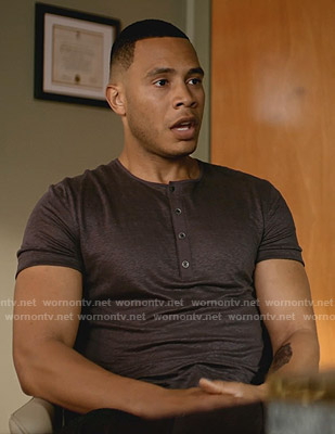 Andre's purple henley tee on Empire
