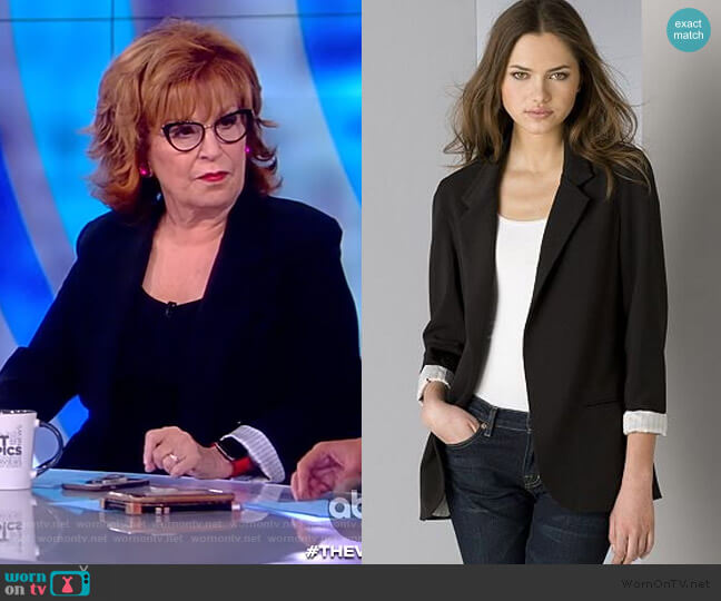 Black Boyfriend Jacket with Stripe Lining by Aqua worn by Joy Behar  on The View