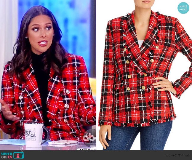 Plaid Tweed Open-Front Blazer by Aqua worn by Abby Huntsman  on The View