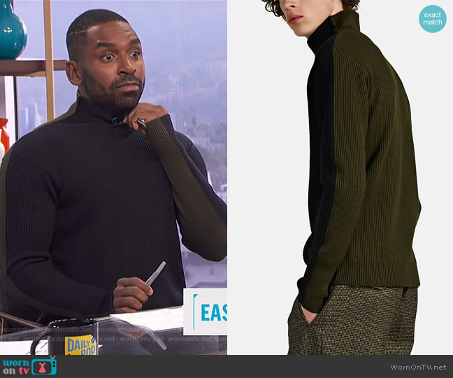 Colorblocked Virgin Wool Mock-Turtleneck Sweater by Barena Venezia worn by Justin Sylvester  on E! News