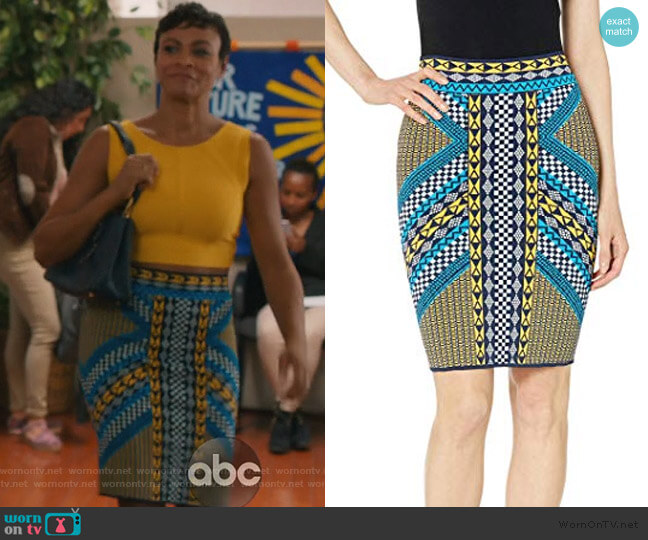 Mixed Geo Motif Pencil Skirt by BCBGMAXAZRIA worn by Angela (Carly Hughes