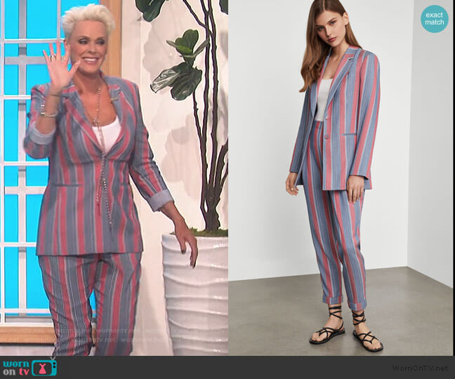 Striped Single-Breasted Blazer and pants by BCBMAXAZRIA worn by Brigitte Nielsen on The Talk