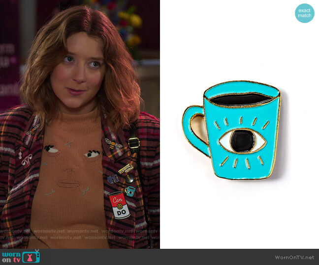 Enlightened Coffee Enamel Pin by Allison Cole at Badge Bomb worn by Nonnie Thompson (Kimmy Shields) on Insatiable