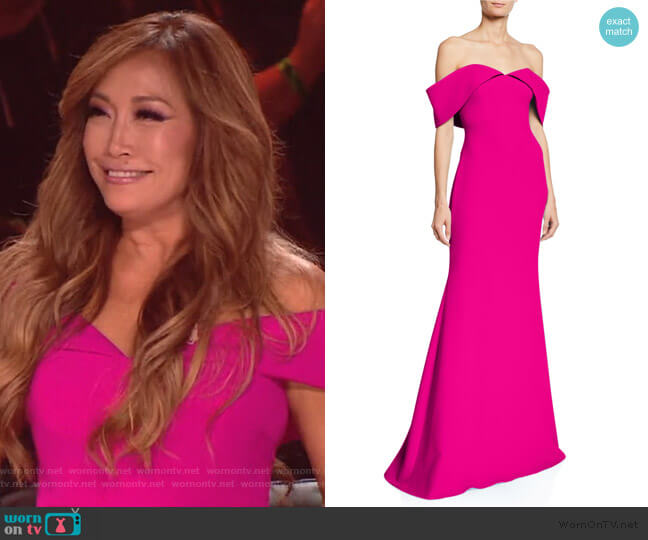 Off-the-Shoulder Short-Sleeve Mermaid Gown by Badgley Mischka Collection worn by Carrie Inaba  on The Talk