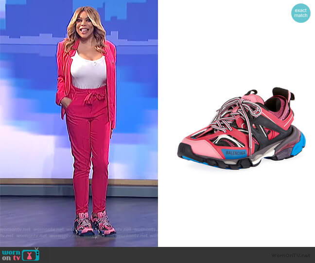 Mixed-Media Leather Track Sneakers by Balenciaga worn by Wendy Williams  on The Wendy Williams Show