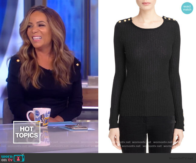 Button Detail Ribbed Sweater by Balmain worn by Sunny Hostin  on The View
