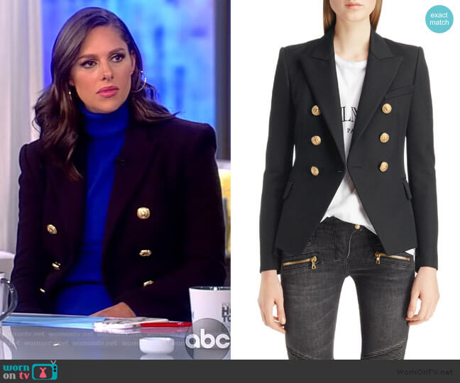ouble Breasted Wool Blazer by Balmain worn by Abby Huntsman  on The View