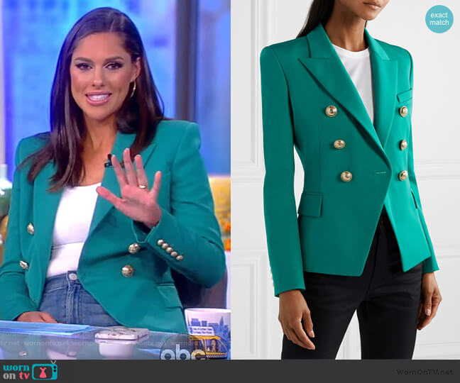 Double-breasted Wool Blazer by Balmain worn by Abby Huntsman  on The View