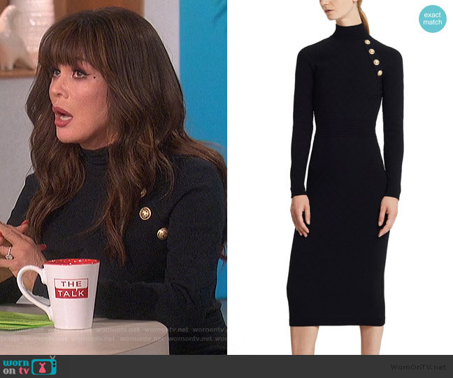Mid-length dress with buttons by Balmain worn by Marie Osmond  on The Talk