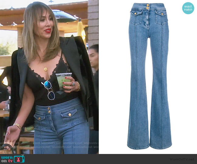 High Waist Flared Jeans by Balmain worn by Kelly Dodd  on The Real Housewives of Orange County