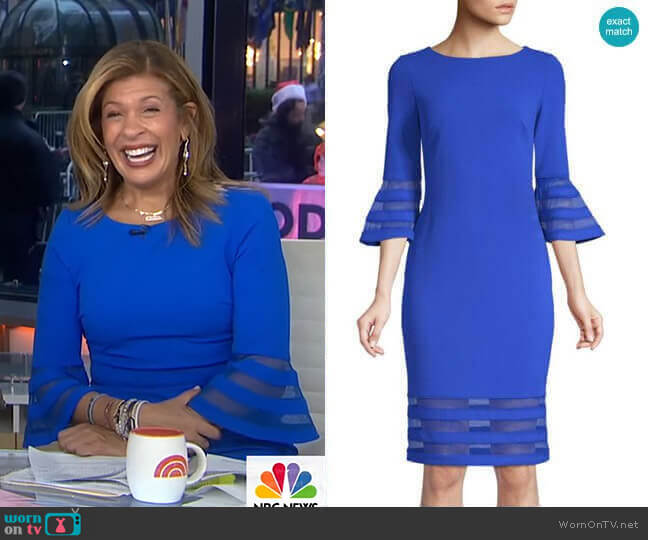 Bell-Sleeve Striped Mesh Dress by Calvin Klein worn by Hoda Kotb  on Today