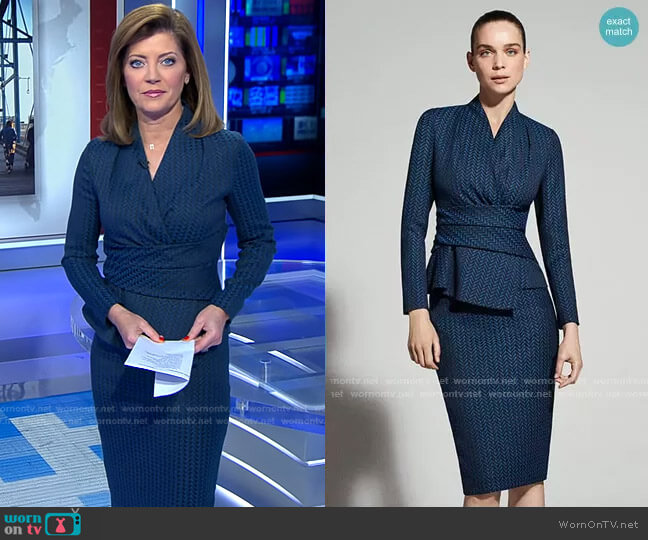 Belleville Top and Hartley Skirt by The Fold London worn by Norah O'Donnell  on CBS Evening News