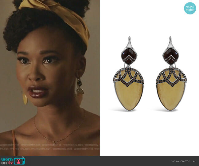 Sterling Silver Quartz & Calcite Dangle Earrings by Bellus Domina worn by Monica Colby (Wakeema Hollis) on Dynasty