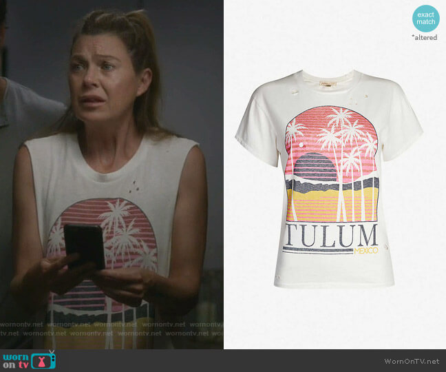 Perfect Boy Tulum Distressed Graphic Tee by Billabong x Sincerely Jules worn by Meredith Grey (Ellen Pompeo) on Greys Anatomy