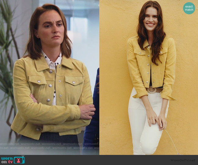 Cropped Suede Trucker Jacket by Anthropologie worn by Angie (Leighton Meester) on Single Parents