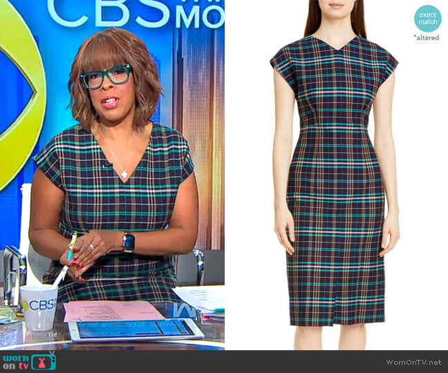 Daela Plaid Stretch Cotton Dress by Boss worn by Gayle King  on CBS This Morning