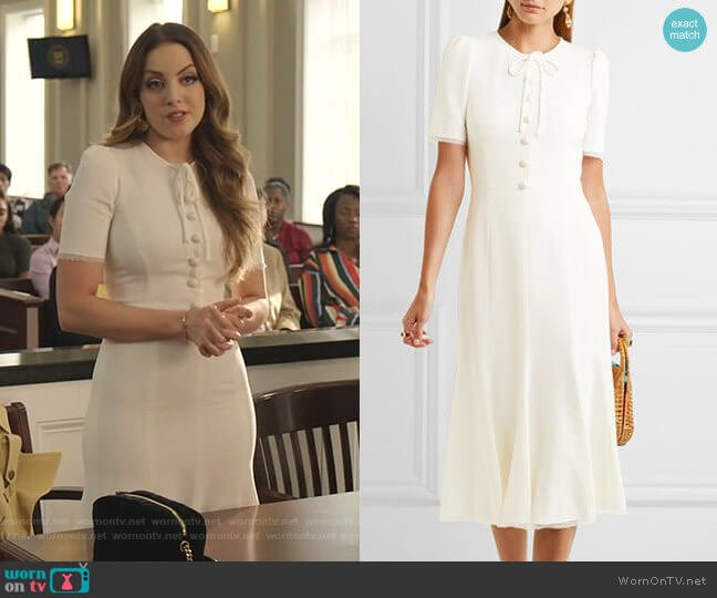 Bow-Embellished Cady Midi Dress by Dolce & Gabbana worn by Fallon Carrington (Elizabeth Gillies) on Dynasty