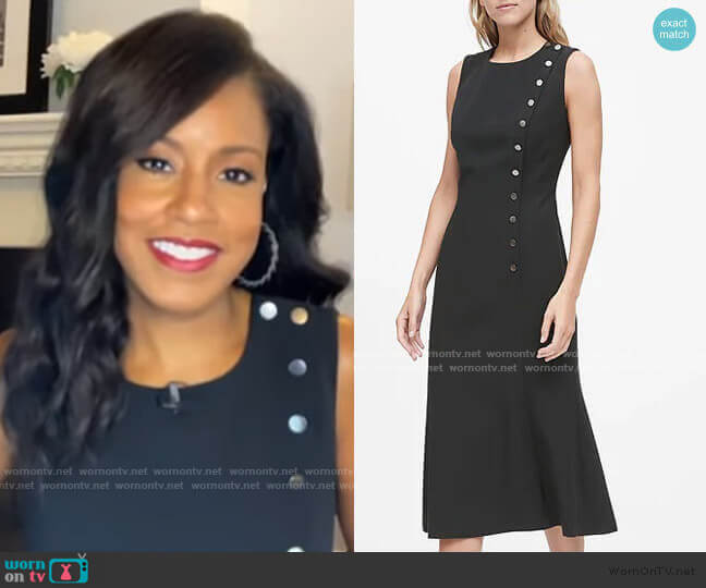Buttoned Midi Dress by Banana Republic worn by Sheinelle Jones  on Today