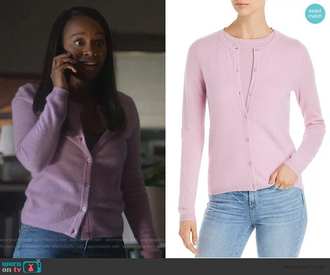 Crewneck Cashmere Cardigan by C by Bloomingdales worn by Michaela Pratt (Aja Naomi King) on HTGAWM
