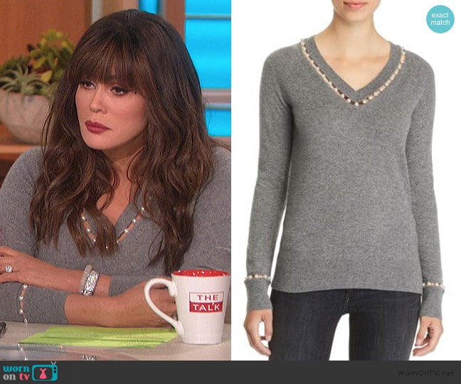 Embellished V-Neck Cashmere Sweater by C by Bloomingdales worn by Marie Osmond  on The Talk