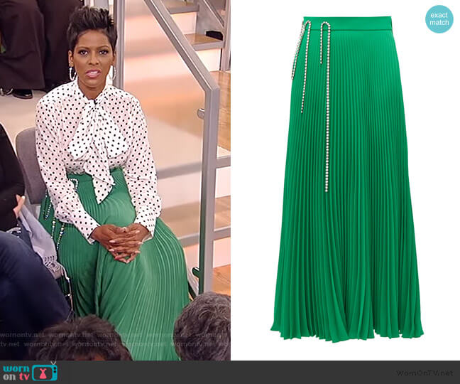 Crystal cup-chain pleated skirt by Christopher Kane worn by Tamron Hall  on Tamron Hall Show