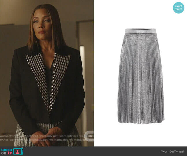 Metallic Pleated Midi Skirt by Christopher Kane worn by Dominique Deveraux (Michael Michele) on Dynasty