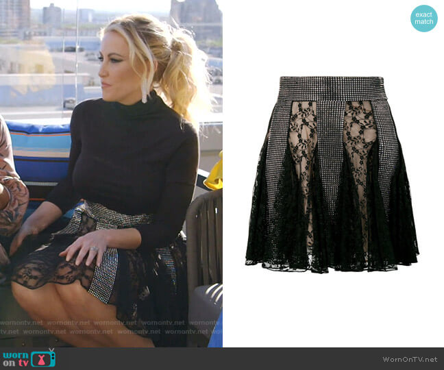 Crystal Lace Mini Skirt by Christopher Kane worn by Stephanie Hollman  on The Real Housewives of Dallas