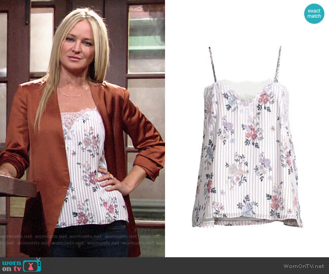 Cami NYC The Sweetheart Cami in Tea Party Floral worn by Sharon Collins (Sharon Case) on The Young & the Restless