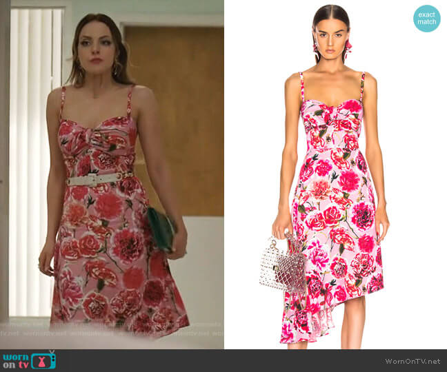 Carnation Sleeveless Dress by Carmen March worn by Fallon Carrington (Elizabeth Gillies) on Dynasty