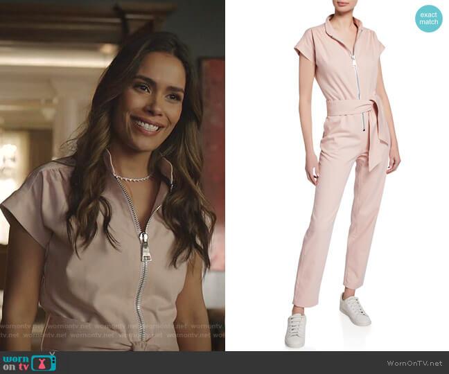 Soul Cap-Sleeve Jumpsuit by Carolina Ritzler worn by Cristal Jennings (Daniella Alonso) on Dynasty