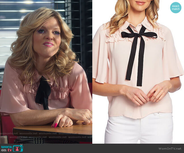 Short Sleeve Collared Ruffle Tie Neck Blouse by Cece worn by  Arden Myrin on Insatiable