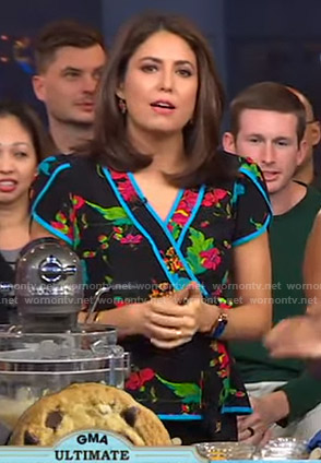 Cecilia's black floral wrap top on Good Morning America