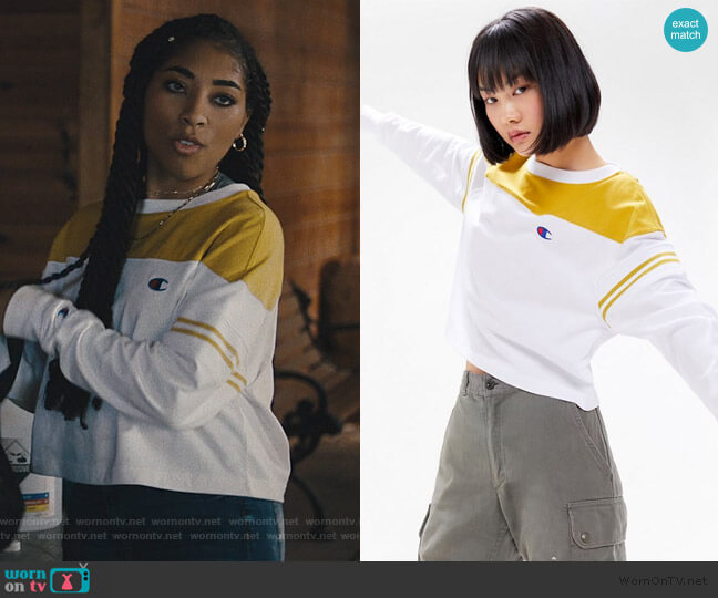 Colorblock Long Sleeve Tee by Champion worn by Peri (Adriyan Rae) on Light as a Feather