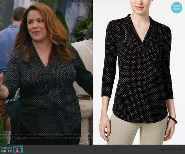 Printed V-Neck Top by Charter Club worn by Katie Otto (Katy Mixon) on American Housewife