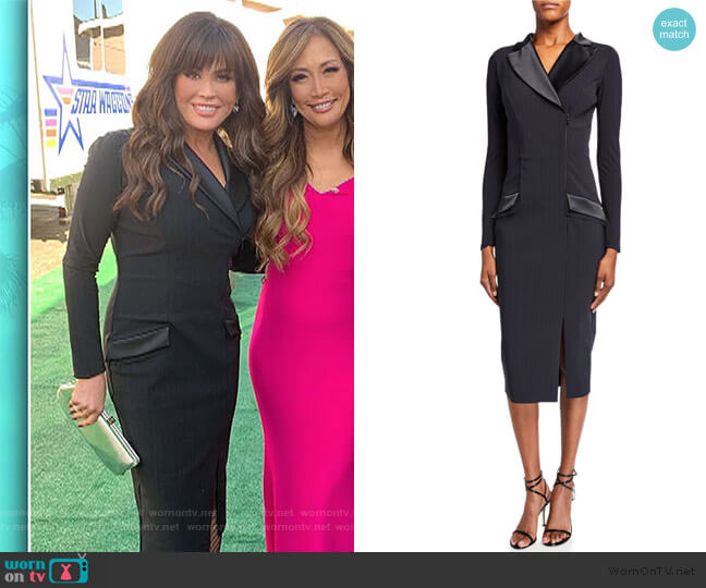 Pinstripe Tuxedo Sheath Dress by Chiara Boni La Petite Robe worn by Marie Osmond  on The Talk