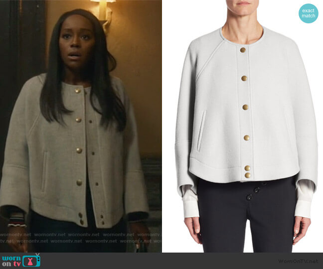 Button Front Cropped Jacket by Chloe worn by Michaela Pratt (Aja Naomi King) on HTGAWM