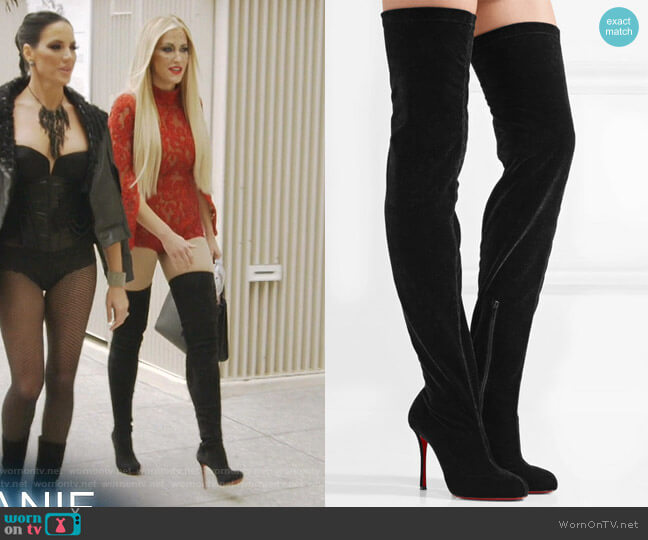 Stretch-Velvet Over-the-Knee Boots by Christian Louboutin worn by Stephanie Hollman  on The Real Housewives of Dallas