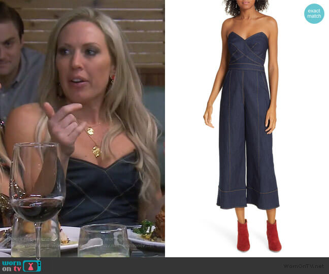 Zelda Strapless Denim Jumpsuit by Cinq a Sept worn by Braunwyn Windham-Burke  on The Real Housewives of Orange County