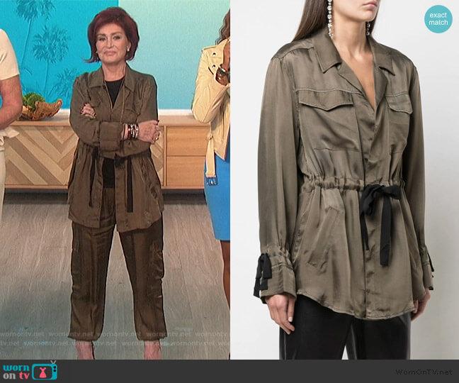 Lightweight Drawstring Waist Jacket by Cinq a Sept worn by Sharon Osbourne  on The Talk