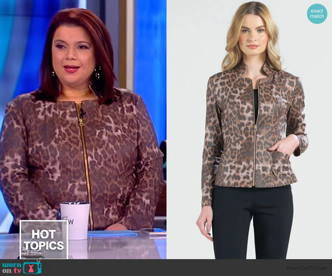 Liquid Leather Slit Pocket Jacket by Clara Sunwoo worn by Ana Navarro  on The View