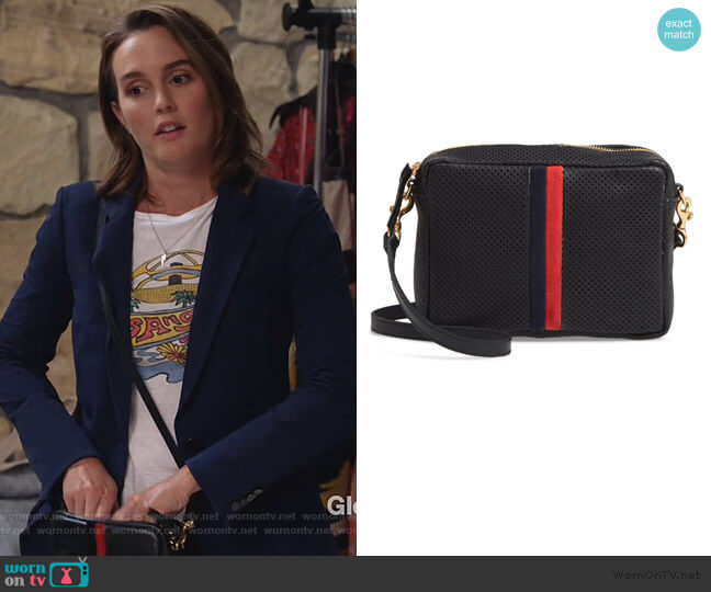 Midi Sac Perforated Leather Crossbody Bag by Clare V. worn by Angie (Leighton Meester) on Single Parents