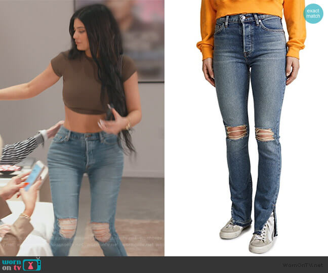 The High Rise Split Skinny Jeans by Cotton Citizen worn by Kylie Jenner  on Keeping Up with the Kardashians