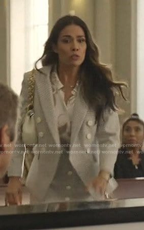 Cristal's blue checked blazer and skirt on Dynasty