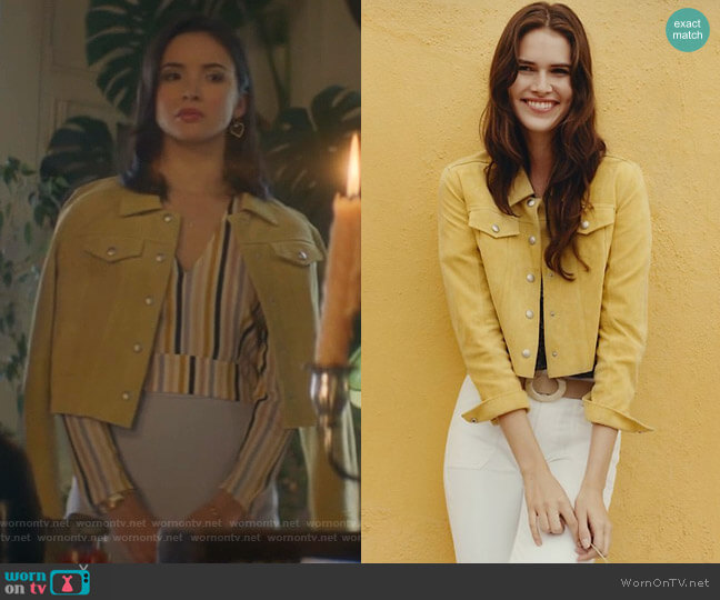 Cropped Suede Trucker Jacket by Anthropologie worn by Bess (Maddison Jaizani) on Nancy Drew