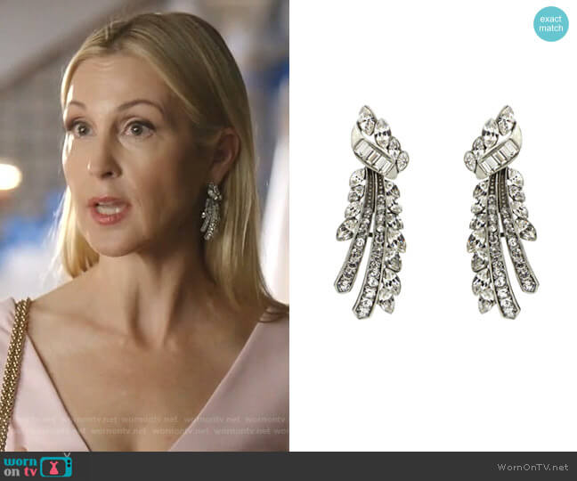 Crystal Branch Post Earrings by Ben-Amun worn by Melissa Daniels (Kelly Rutherford) on Dynasty