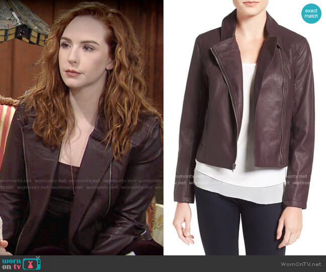 Cupcakes and Cashmere Joslyn Faux Leather Moto Jacket in Oxblood worn by Mariah Copeland (Camryn Grimes) on The Young & the Restless