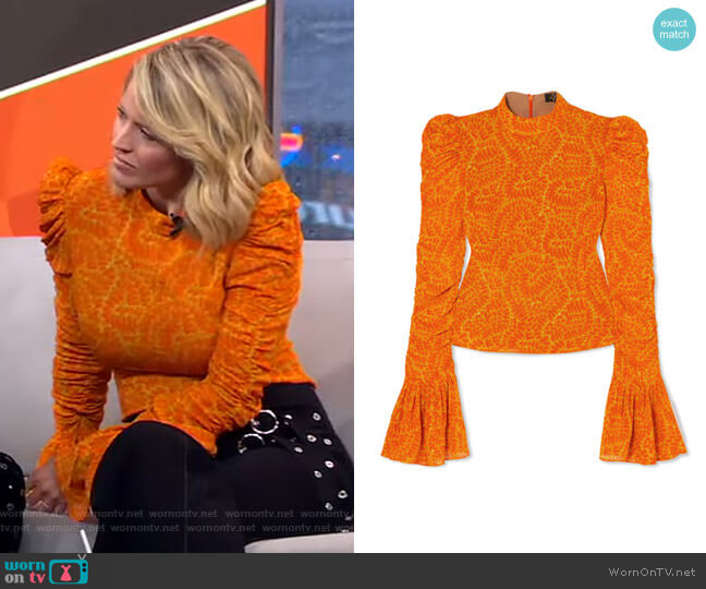 Puma Ruched Printed Georgette Top by De La Vali worn by Sara Haines  on Good Morning America